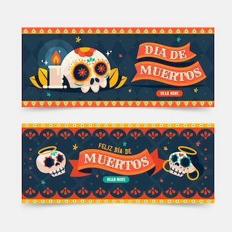 Plantilla de banner de día de muertos en diseño plano