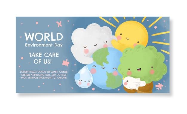 Plantilla de banner del día mundial del medio ambiente en acuarela pintada a mano