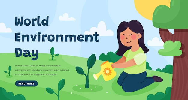 Plantilla de banner de día mundial del medio ambiente plano orgánico