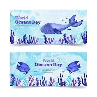 Plantilla de banner del día mundial de los océanos en acuarela