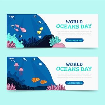 Plantilla de banner del día mundial de los océanos de diseño plano