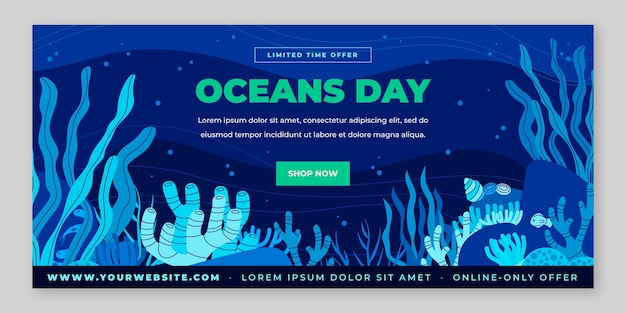 Plantilla de banner del día mundial de los océanos plano orgánico