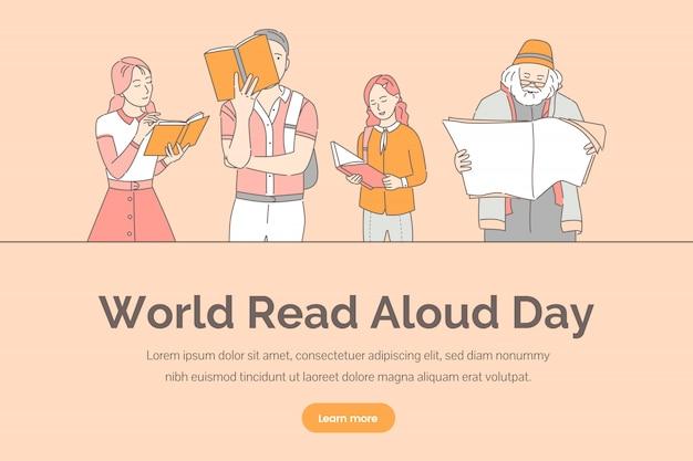 Plantilla de banner del día mundial en voz alta. personas que leen libros, periódicos y revistas.