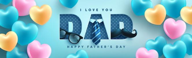 Plantilla de banner del día del padre con corbata, gafas y caja de regalo en azul