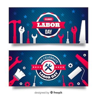Plantilla de banner del día del trabajador en diseño plano