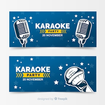 Plantilla de banner dibujado de fiesta de karaoke
