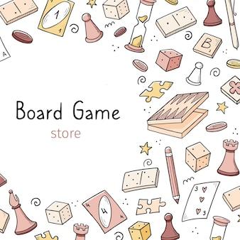 Plantilla de banner dibujado a mano con elemento de juego de mesa. estilo de dibujo doodle.