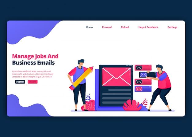 Plantilla de banner de dibujos animados para administrar el correo electrónico laboral y comercial de manera efectiva. plantillas de diseño creativo de página de destino y sitio web para empresas.