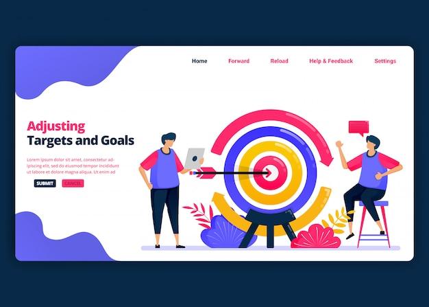 Plantilla de banner de dibujos animados para ajustar objetivos y metas al mercado y a los clientes. plantillas de diseño creativo de página de destino y sitio web para empresas. se puede usar para web, aplicaciones móviles, carteles