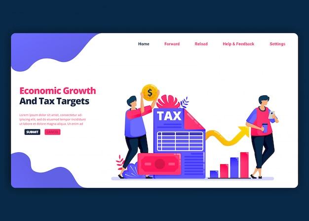 Plantilla de banner de dibujos animados para lograr el crecimiento económico y los objetivos fiscales anuales. plantillas de diseño creativo de página de destino y sitio web para empresas.