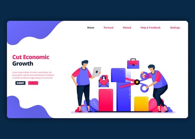 Plantilla de banner de dibujos animados para reducir el crecimiento económico y el pib durante la crisis. plantillas de diseño creativo de página de destino y sitio web para empresas.
