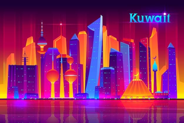 Plantilla de banner de dibujos animados de la vida nocturna de la metrópoli de kuwait con ciudad de cultura musulmana, asiática moderna