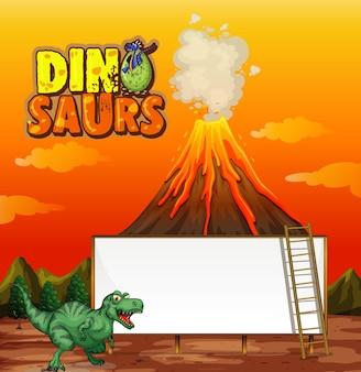 Una plantilla de banner de dinosaurio en la escena de la naturaleza.