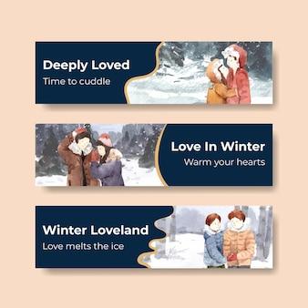 Plantilla de banner con diseño de concepto de amor de invierno para publicidad y marketing ilustración vectorial de acuarela