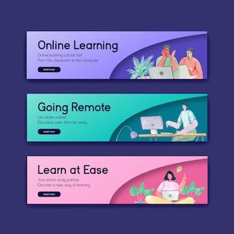 Plantilla de banner con diseño de concepto de aprendizaje en línea para publicidad y marketing ilustración acuarela
