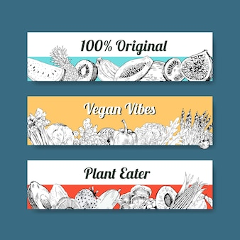 Plantilla de banner con diseño de concepto de comida vegana.