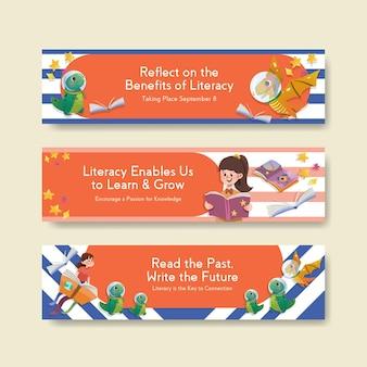 Plantilla de banner con diseño de concepto del día internacional de la alfabetización para marketing y acuarela de folletos.