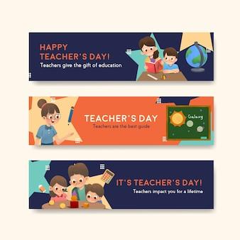 Plantilla de banner con diseño de concepto del día del maestro