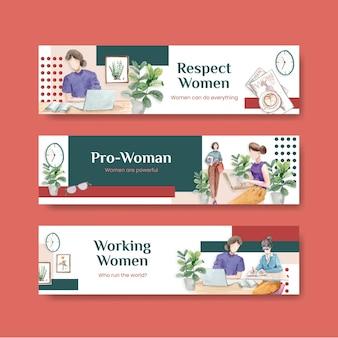 Plantilla de banner con diseño de concepto del día mundial del agua para publicidad y marketing ilustración acuarela