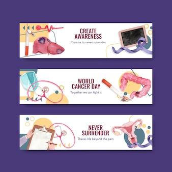 Plantilla de banner con diseño de concepto del día mundial del cáncer para publicidad y marketing ilustración vectorial de acuarela.