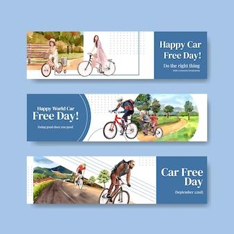Plantilla de banner con diseño de concepto del día mundial sin coches para publicidad y folletos vectoriales en acuarela.
