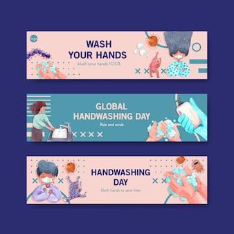 Plantilla de banner con diseño de concepto del día mundial del lavado de manos