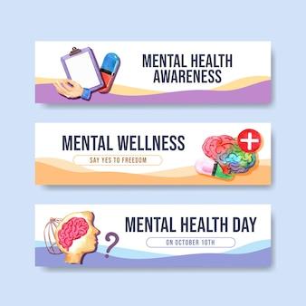 Plantilla de banner con diseño de concepto del día mundial de la salud mental para publicidad y marketing de ilustraciones vectoriales en acuarela.
