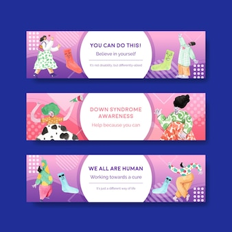 Plantilla de banner con diseño de concepto del día mundial del síndrome de down para publicidad y marketing ilustración acuarela