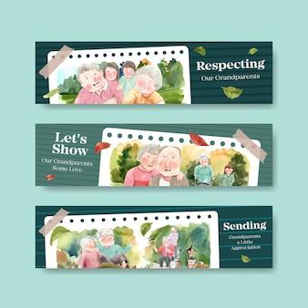 Plantilla de banner con diseño de concepto de día nacional de los abuelos para folletos y folletos acuarela.