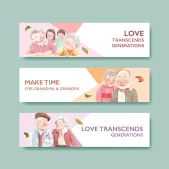Plantilla de banner con diseño de concepto del día nacional de los abuelos