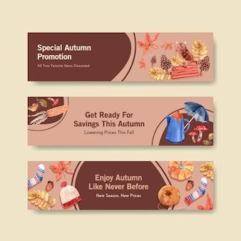 Plantilla de banner con diseño de concepto diario de otoño para marketing y promoción acuarela