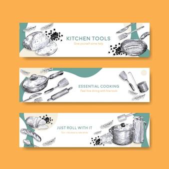 Plantilla de banner con diseño de concepto de electrodomésticos de cocina para publicidad ilustración vectorial