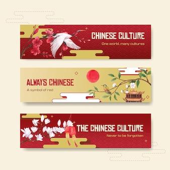 Plantilla de banner con diseño de concepto de feliz año nuevo chino con ilustración acuarela de publicidad y marketing