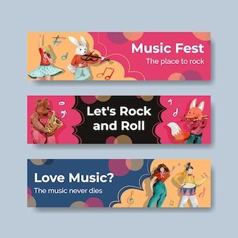Plantilla de banner con diseño de concepto de festival de música para publicidad y marketing ilustración vectorial de acuarela