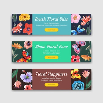 Plantilla de banner con diseño de concepto de flores de pincel para publicidad y marketing de acuarela