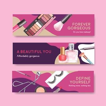 Plantilla de banner con diseño de concepto de maquillaje para publicidad y marketing watercoclor