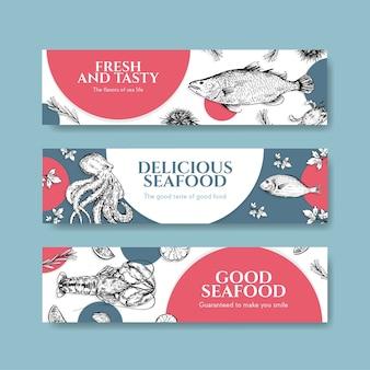 Plantilla de banner con diseño de concepto de mariscos para publicidad e ilustración de folletos