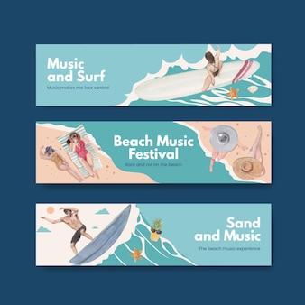 Plantilla de banner con diseño de concepto de vacaciones en la playa para publicidad ilustración acuarela