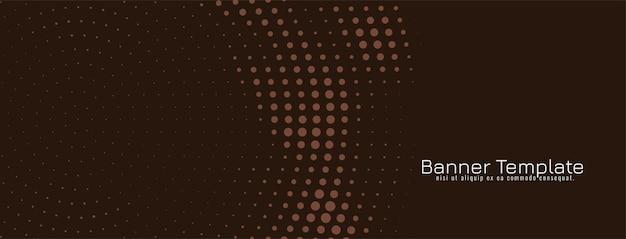 Plantilla de banner de diseño de semitono circular marrón