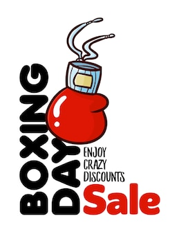 Plantilla de banner de diseño vertical de venta de boxing day divertido y lindo