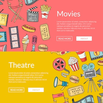 Plantilla de banner de doodle de cine de vector. bosquejo de elementos de cine