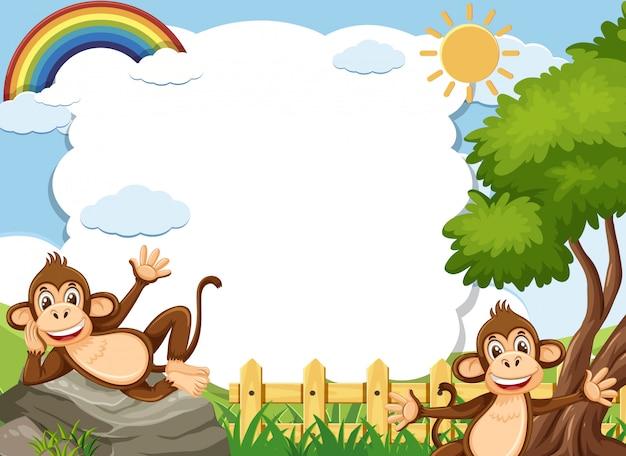 Plantilla de banner con dos monos felices en el parque