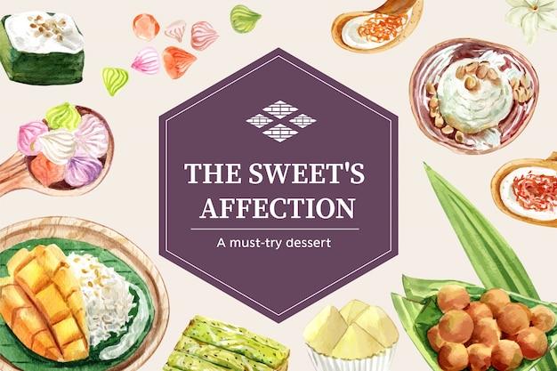 Plantilla de banner dulce tailandés con arroz pegajoso, mango, helado ilustración acuarela.