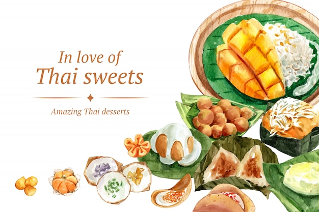 Plantilla de banner dulce tailandés con arroz pegajoso, mongo, pudín ilustración acuarela.