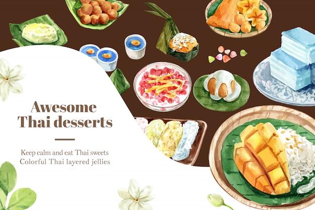 Plantilla de banner dulce tailandés con arroz pegajoso, pudín acuarela ilustración.