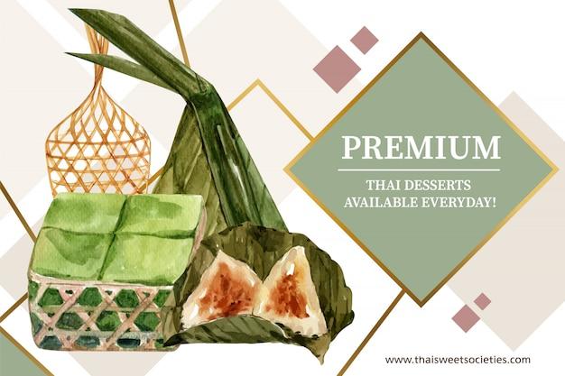 Plantilla de banner dulce tailandés con budín, acuarela de ilustración de masa de pirámide.