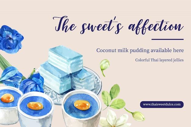 Plantilla de banner dulce tailandés con gelatina en capas, pudín acuarela ilustración.