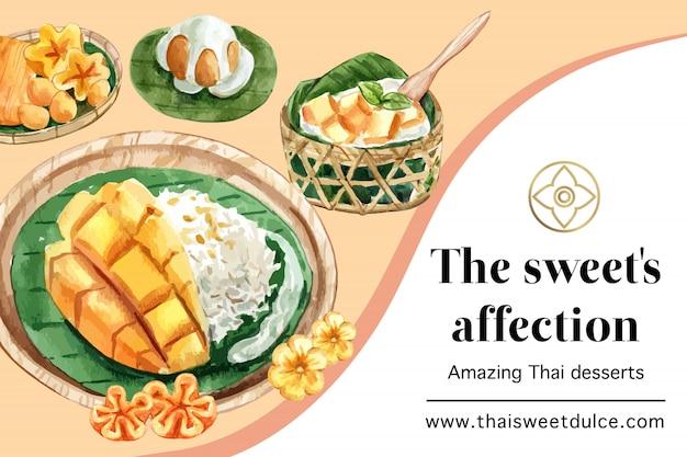 Plantilla de banner dulce tailandés con hilos de oro, acuarela de ilustración de arroz pegajoso.