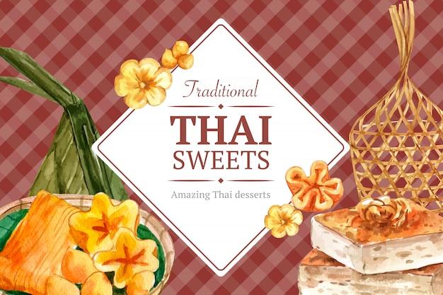 Plantilla de banner dulce tailandés con hilos de oro, acuarela de ilustración de natillas tailandesas.