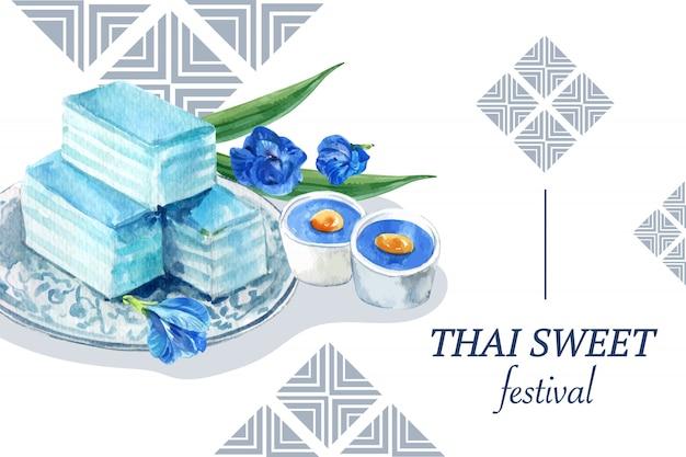 Plantilla de banner dulce tailandés con pudín, acuarela de ilustración de gelatina en capas.